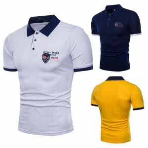 Men's Shield Embroidered Lapel Casual Short Sleeve POLO Shirt