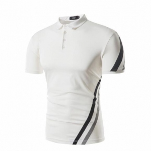 Men's Casual Short-Sleeved Crash of Color Stripes POLO T-Shirt