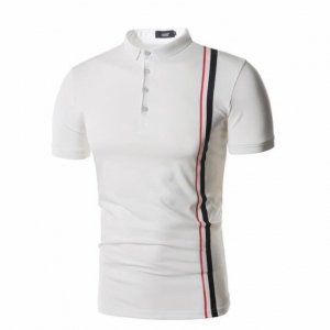 Men's Color Stitching Short-Sleeved Casual POLO T-shirt