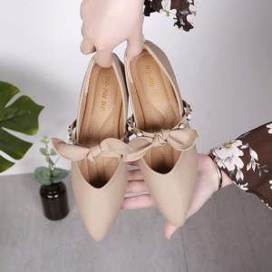 Korean Women's Pearl Bow Flat Shoes