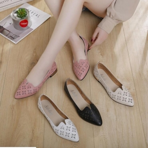 Korean Women's Fashion Breathable Hollow Pointed Flat Shoes