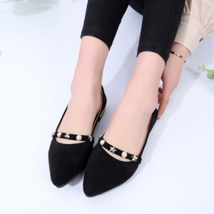 Women's Fashion Metal Star Pearl Decoration Flat Shoes