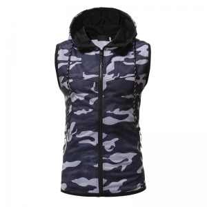 Men's Casual Camouflage Slim Sleeveless Hooded Cardigan Sweater