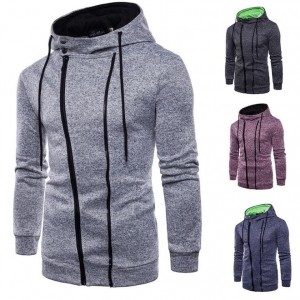 Men's Sports and Leisure Jacquard Sweater Cardigan Hooded Jacket
