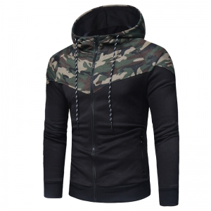 Men's Classic Camouflage Stitching Casual Slim Zipper Hooded Sweater