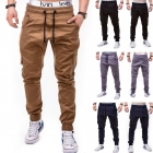 Men's Fashion Solid Color Side Pockets Tether Belt Casual Beam Pants Trousers
