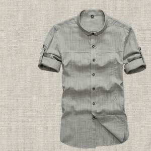 Men's Chinese Style Cotton And Linen Short-Sleeved Shirt