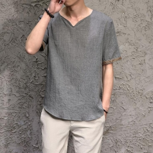 Men's Chinese Style Linen Cotton Loose Short Sleeve T-Shirt