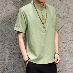 Men's Chinese Style Cotton Linen Buckle Personality Retro T-Shirt