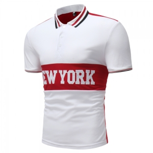 "Men's Stitching Design ""NEW YORK"" Embroidered Short Sleeve POLO Shirt"