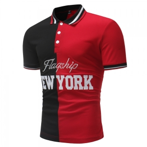 "Men's Left Right Stitching ""NEWYORK"" Embroidery Design Short Sleeve POLO Shirt"