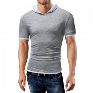 Men's Fashion Hooded T-Shirt Colorblock Casual Short-Sleeve T-Shirt