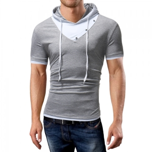 Men's Fashion Hoodie Collar Color Button Design Short Sleeve T-Shirt