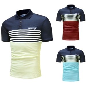 Men's Casual Fashion Color Stitching Design POLO Shirt