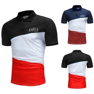 Men's Color Stitching Design Casual Fashion Short Sleeve POLO Shirt