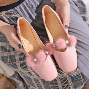 Korean Women's Plush Ball Decoration Shallow Mouth Square Head Casual Shoes