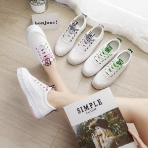 Women's Fashion Color Stitching Design Flat Casual Lace Up Running White Shoees