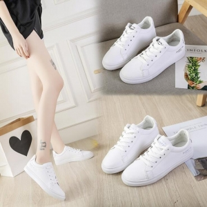 Korean Women's Rose Pattern Embroidery Wild Flat Casual Canvas White Shoes