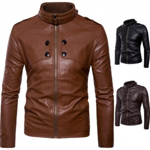 Men's Stand Collar 4 Button Motorcycle Washed Leather Jacket