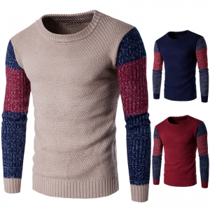 Europe Men's 3 Color Stitching Warm Knitting Thicker Sweater