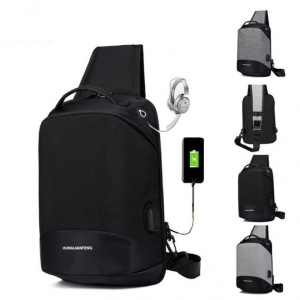 Men's Fashion USB Port Simple Large Capacity Outdoor Casual Chest Bag