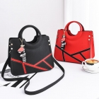 Europe Women's Cute Character Pendant Decoration Stone Pattern Leather Shoulder Bag