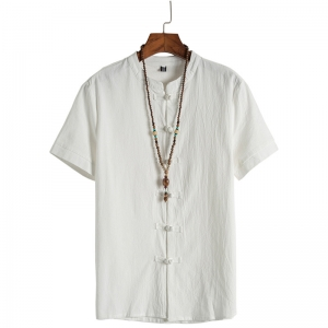 Men's Chinese Style Vintage Cotton Linen Buckle Casual Solid Color Shirt