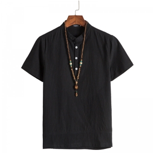 Men's Casual Solid Color Chinese Style Short Sleeve T-shirt