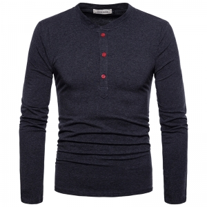 Europe Men's High Quality Fashion Solid Color Long Sleeve T-Shirt