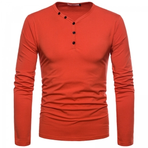Europe Men's Fashion Solid Color Button Decoration Long Sleeve T-Shirt