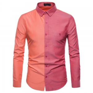 Men's Fashion Casual Contrast Color Stitching Long Sleeve Shirt