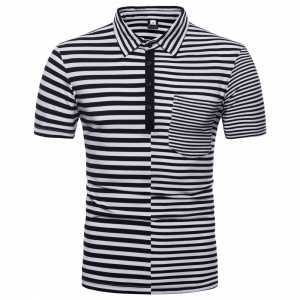 Europe Men's Striped Stitching Short-Sleeved POLO Shirt