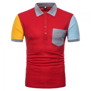 Europe Women's Fashion Left And Right Shoulder Color Stitching Short Sleeve POLO Shirt