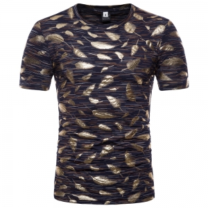Europe Women's Hot Stamping Feather Design Short-Sleeved T-Shirt