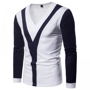 Men's Two-Color Fashion Y-Shaped Exotic Stitching V-Neck Long-Sleeved T-Shirt