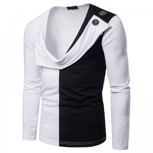Men's Two-Color Stitching Fake Two-Piece Design Long-Sleeved T-Shirt