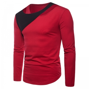 Men's Solid Color Design Color Matching Fake Two-Piece Long-Sleeved T-Shirt