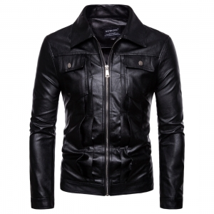Europe Men's Solid Color Washed Motorcycle PU Leather Jacket