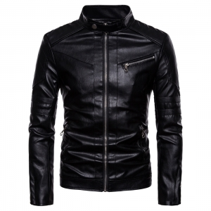 Men's Multiple Zipper Design Washed Stand Collar Motorcycle PU Leather Jacket