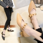 Women's British Style Metal Decoration Pointed Head Thick Heel Shallow Mouth Casual Shoes