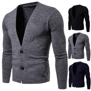 Europe Men's Pure Color Slim Long Sleeve Knit Cardigan Sweater