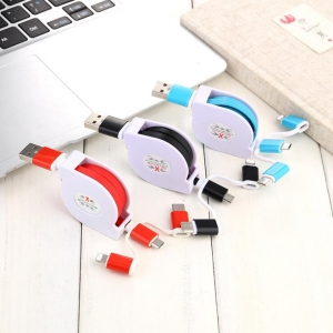 1 Meter 3in1 Stretch Apple/Android/Type-C Mobile Phone USB Cable  For Data Transmission And Charging