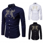 Men's Palace Style Embroidered Lapel Long Sleeve Shirt