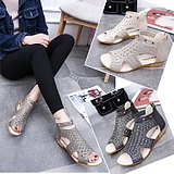 Rome Rhinestone Hollow Fish Mouth Women's Sandals