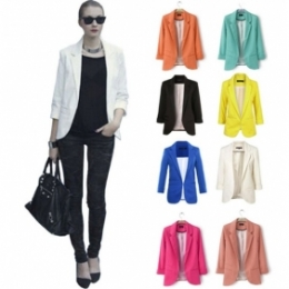 Europe Women Without Buckle Candy Color Small Suit Coat Jacket