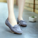 European Ladies Ribbon Tassels Pattern Soft Bottom Round-toe Designed Flat Shoes