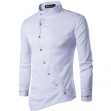 Men's Slim Fit Irregular Button Pattern Designs Stand Collar Long-sleeve Formal Shirt
