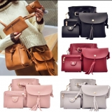 Korean Women's Retro Fashion Classical Composition Shoulder Bag /4pcs per Set