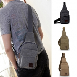 Korean Casual Men Canvas Chest Running Riding Package Bag