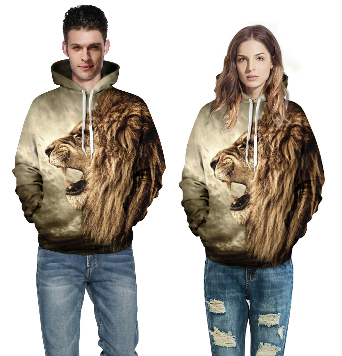 Couple's Hooded Sweatshirt Lion Print Hooded Sweater